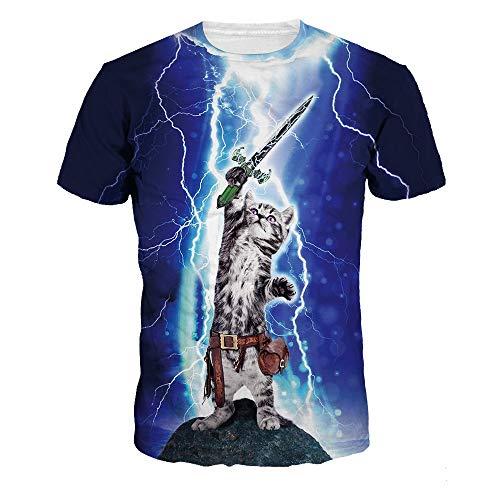 BMSYTY Serie 3D T-Shirts für Männer und Frauen Rundhals Kurzarm Unisex 3D gedruckt Casual Tees Tops Katze T-Shirt,Sina