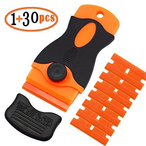 Plastic Razor Scraper Car Sticker Remover with 30 Pcs Plastic Razor Scraper Blades for Removing Label Glue Residue Sticker