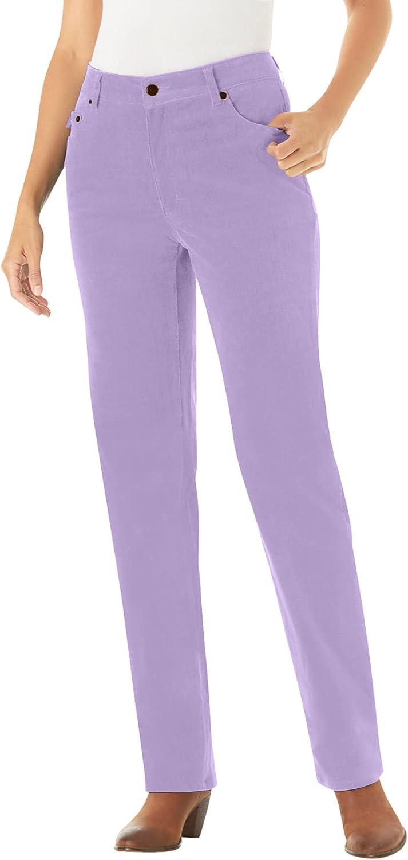 Woman Within Women's Plus Size Tall Corduroy Straight Leg Stretch Pant