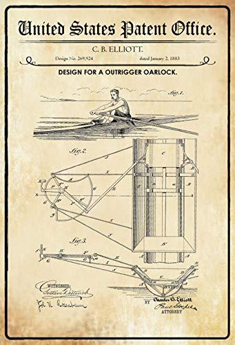 FS Patent ontwerp voor een roeiboot- schip metalen bord gebogen metalen teken 20 x 30 cm