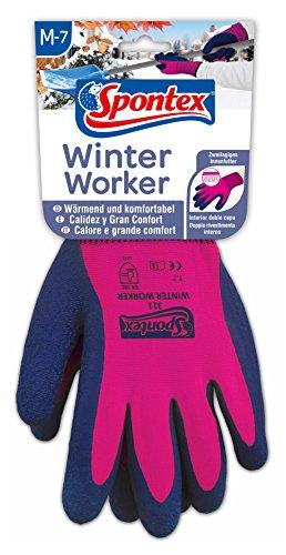 Spontex Winter Worker Handschuhe, Arbeitshandschuhe mit Innenfütterung für hohen Kälteschutz, mit Latexbeschichtung, Größe M, 1 Paar