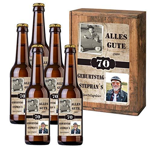Personalisiertes Bier mit Wunschtext und Foto | 5 x 0,33 l Dinkelbier als Geschenkset | Persönliche Geschenkbox zum Geburtstag (Geschenkbox mit 5 Fl, Holzoptik)