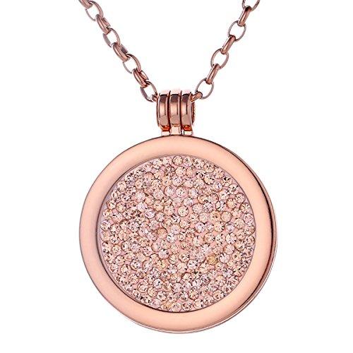 Morella Damen Halskette Rosegold 70 cm Edelstahl mit Anhänger und Coin 33 mm Zirkoniasteine Lachsfarben in Schmuckbeutel
