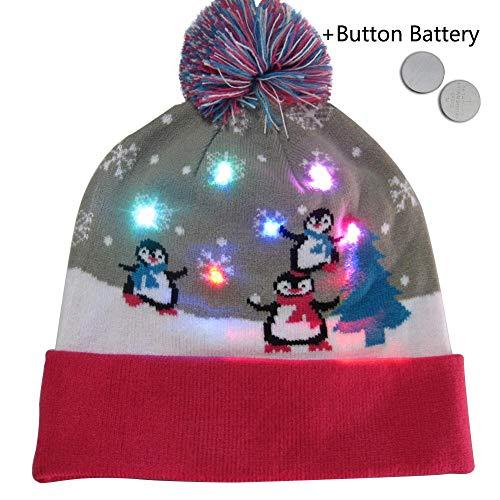 waterfaill-Weihnachtsglühende Mütze, Bunte Strickmütze, LED-Leuchten-Strickmütze Für Feiertags-Weihnachten