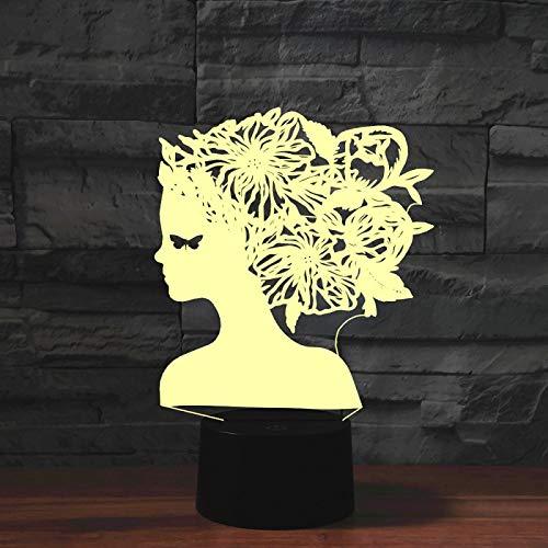 Yyhmkb Decoraciones Lampara Flexo E27 Lampara Flexible Las Luz Calida Moda Novia Maquillaje 3D Luz Colorida Táctil Visual Estéreo Luz De Ahorro De Energía Mesa De Gradiente Luz De Noche