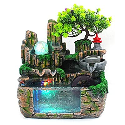 DYRABREST Tabletop Rockery Fountain Indoor Waterfall Bonsai Desktop Mini Rockery Water Fountain with LED Light, Home Office Bedroom Atomizing Humidifier Desk Décoration (Style1)