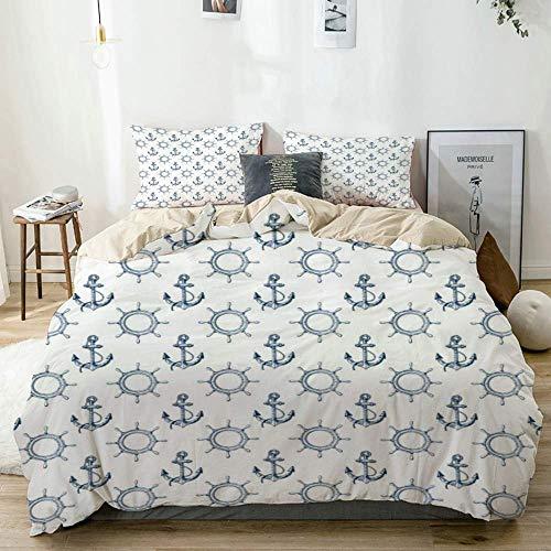 ATZTD Juego de ropa de cama, funda de edredón, color beige, patrón sin costuras con anclajes y volantes, funda de edredón decorativa de 3 piezas con 2 fundas de almohada de tamaño individual