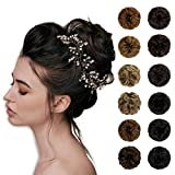 Wodelanle Messy Bun Hair Piece Curly Wavy Messy Synthetic Hair Extensions Hairpiece Scrunchies Juva Bun Tousled Updo Hair Pieces for Women 1 Piece (Dark Brown Mix Light Auburn)