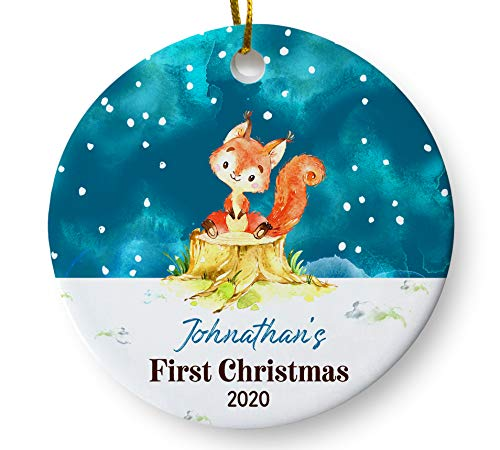 Woodlands Christmas 2020 Amazon.com: Personalized Baby's First Christmas 2020 Ornament