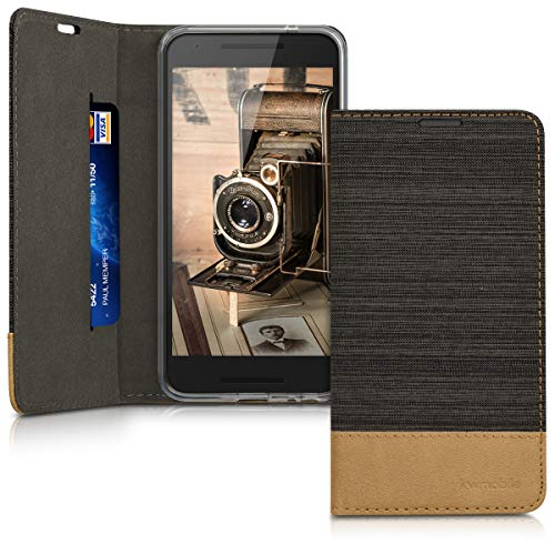 kwmobile LG Google Nexus 5X Hülle - Stoff Handy Cover Case mit Ständer - Schutzhülle für LG Google Nexus 5X - Anthrazit Braun