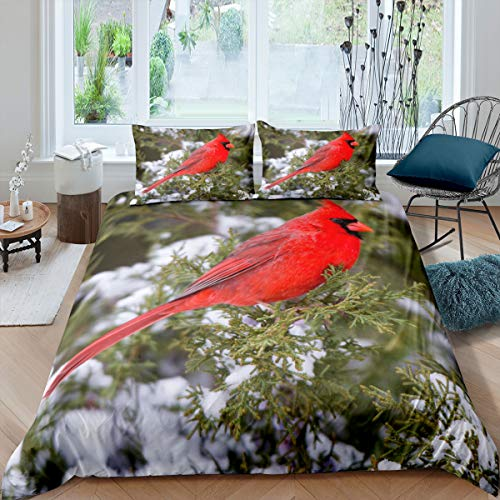 Erosebridal Cardinal Comforter Cover Red Bird Bedding Set for Child Girls Youth,Pine Tree Duvet Cover Animal Snow Quilt Cover with Zipper Closure Soft and Breathable Bedroom Decor King Size