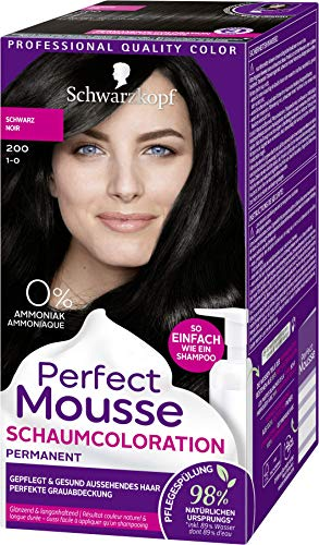 SCHWARZKOPF PERFECT MOUSSE Permanente Schaumcoloration 200 Schwarz Stufe 3, 3er Pack (3 x 92,5 ml)
