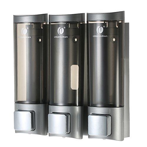 Decdeal Distributeur de Savon Manuel Distributeur de Savon Liquide Cabinet de Shampooing à Trois 200 ML Chambres Murale Support