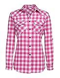 UNibelle Camisa a Cuadros Blusa a Cuadros de Manga Larga con Cuello en v y Mangas Ajustables Primavera Casual Rosa-L