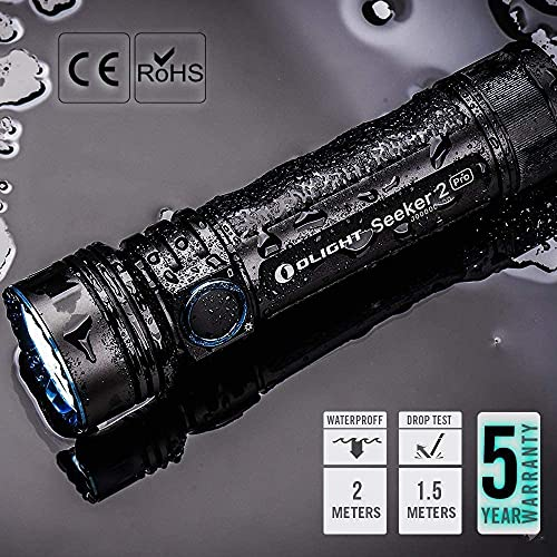 Olight Seeker 2 Pro LED Torch, Max 3200 Lumens Rechargeable Flashlight with Power and Brightness Indicator Switch,5000mAh Customized 21700 Battery,L-Dock Charger,USB Magnetic Charging Cable,Holster