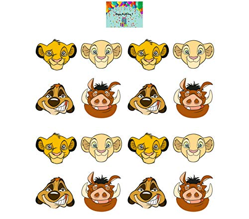 Lion King Party Masks - Set of 16 Masks bundled with Birthday Card by JPMD