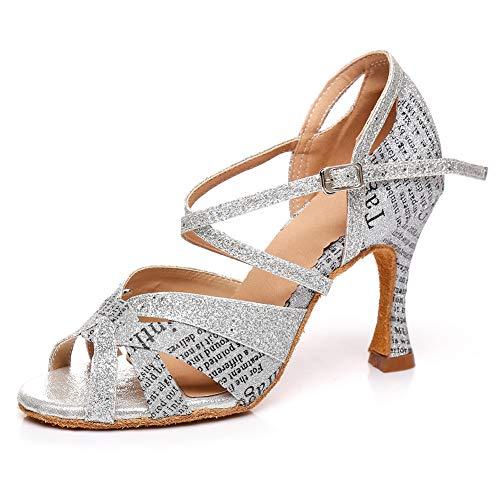 HIPPOSEUS Zapatos de Baile Latino para el salón de Baile con Purpurina...