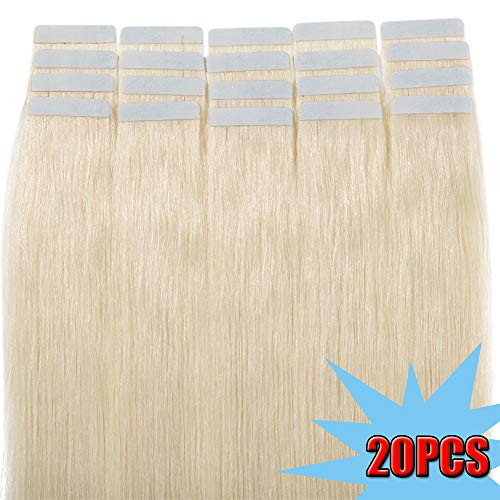 Extension Adhesive Naturel Cheveux Bande Adhésive Ruban Adhésif 20pcs - Rajout Extensions Cheveux Humains Naturels (#70 Blanc blanchi, 60cm)