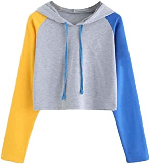 HEFASDM Women's Casual Long-sleeve Spell Color Crop Tops Hoodies Sweater Pullover AS1 M