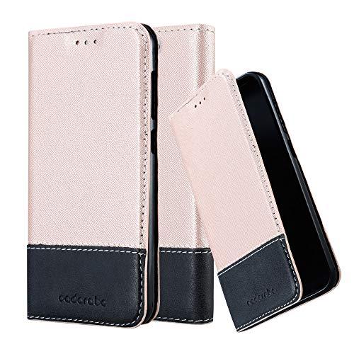 Cadorabo Hülle für HTC One A9 in ROSÉ Gold SCHWARZ – Handyhülle mit Magnetverschluss, Standfunktion & Kartenfach – Hülle Cover Schutzhülle Etui Tasche Book Klapp Style