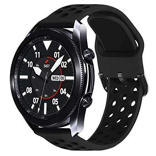 Surace Compatible con Galaxy Watch 3 Band 45 mm, correa deportiva de silicona suave con pasador de liberación rápida de repuesto para Galaxy Watch 46 mm, color negro y negro