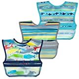 green sprouts Snap + Go Wipe-off Bibs Waterproof Easy Clean Catch-all Pocket Made without PVC Formaldehyde, Blue Whales, 9-18 Month, 3 Count