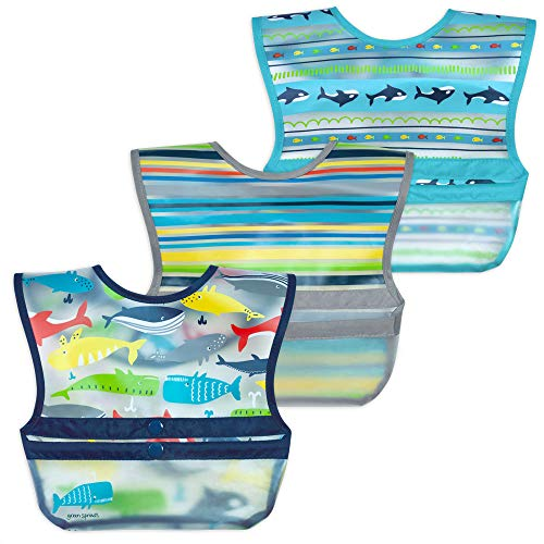 green sprouts Snap & Go Wipe-off Bibs (3 pk) | Waterproof protection for messy eaters | Neatly rolls up for mess and utensil storage, Flipped pocket stays extended to catch spills, Easy clean