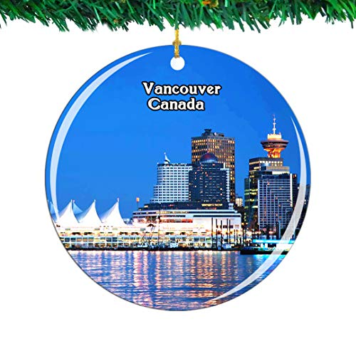 Weekino Canada Granville Island Vancouver Christmas Ornament City Travel Souvenir Collection Double Sided Porcelain 2.85 Inch Hanging Tree Decoration