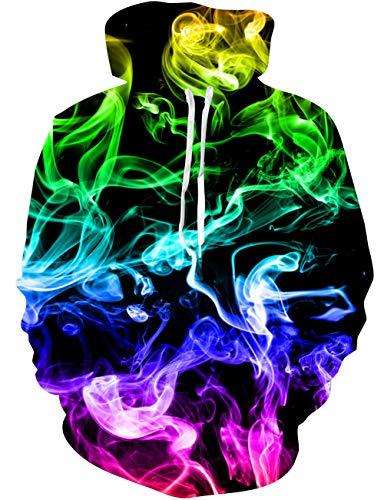 Loveternal 3D Pullover Unisex Bunter Rauch Kapuzenpullover 3D Druck Hoodie Herren Langarm Fleece Sweatshirt für Teen Jungen Mädchen L