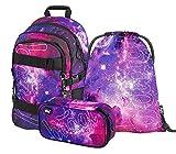 Schulrucksack Set Mädchen 3 Teilig, Schultasche ab 3. Klasse, Grundschule Ranzen mit Brustgurt, Ergonomischer Schulranzen (Skate Galaxy)