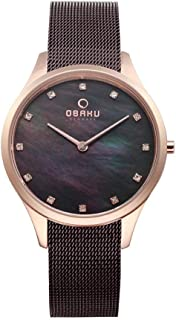 Obaku FIN Walnut Brown Mother Of Pearl Dial Watch for Men - V217LXVNMN