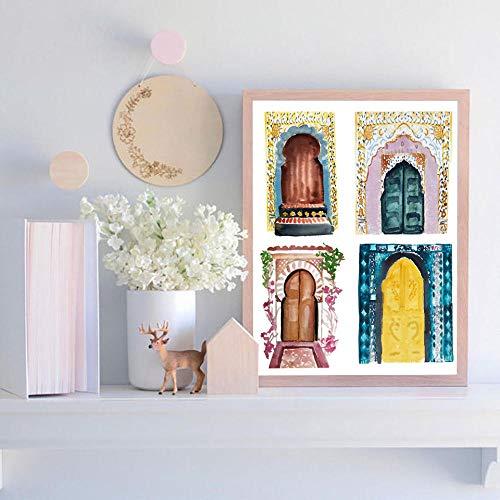 Swallow Marokkanische Türen Poster und Drucke Leinwand Malerei Wandbild Für Wohnzimmer Kunst Decor-50x70cmx1 stücke kein Rahmen