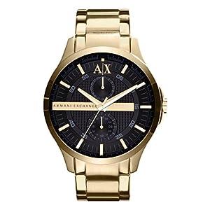 Armani Exchange AX2122del Hombre Oro Reloj de Cuarzo con Esfera Negra