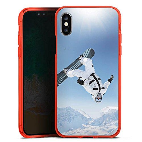 DeinDesign Silikon Hülle Case Schutzhülle für Apple iPhone X Snowboard Snow Schnee