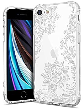 GREATRULY Floral Clear Pretty Phone Case for iPhone SE 2020 / iPhone SE2 4.7 Inch for Women/Girls,Flower Design Slim Soft Transparent Drop Proof TPU Bumper Cushion Silicone Cover Shell,FL-S