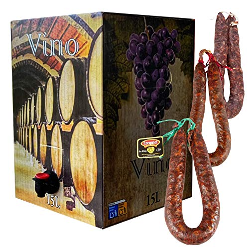 Lote Bag in Box 15 litros Vino Tinto Joven - Bag in Box Vino Tinto de Mesa - 1 Chorizo Ezequiel Dulce - 1 Chorizo Ezequiel Picante - 1 Salchichón Ezequiel