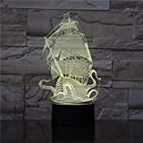 Sailboat Pirates of The Caribbean Best Teenager 3D LED Night Light USB Table Lamp Kids birthday Gift Bedside home decoration