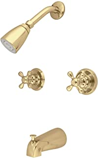 Kingston Brass KB242AX Magellan Twin Tub and Shower Faucet with Decor Cross Handle Polished Antique Brass