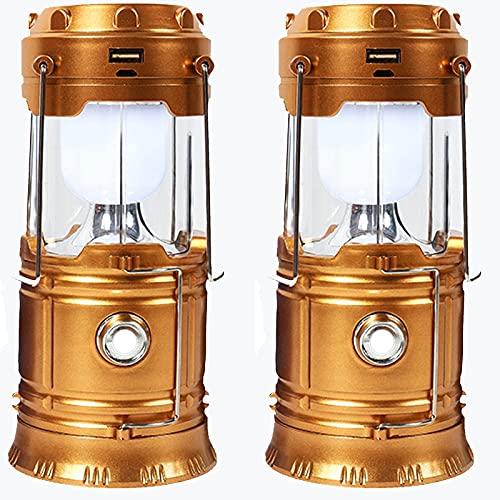 SJNSJN Lampara de Camping, Faroles Portátiles LED Lámpara Exterior Plegable, Luz de Emergencia, Solar/USB Carga, Luz de Carpa Resistente al Agua para Acampar Caminar, Pescar (2 pack),Oro