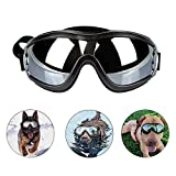 Loggipet Dog Goggles Puppy Pet Sunglasses with Adjustable Strap UV Protection Waterproof for Medium to Large Dog Travel Skiing and Anti-Fog, Black