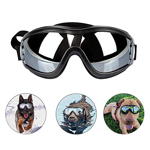 Loggipet Dog Goggles Puppy Pet Sunglasses with Adjustable Strap UV Protection Waterproof for Medium...