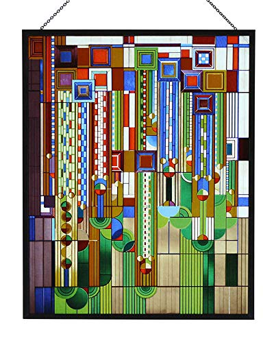 Frank Lloyd Wright Saguaro Stained Glass Metal Framed Ht:13.88' x 11'