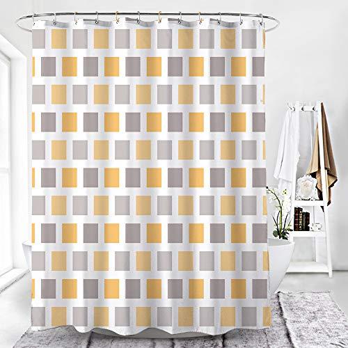 Alumuk Top Qualität Duschvorhang Wasserdicht Anti-Schimmel Polyester Stoff inkl. 12 Duschvorhangringe,Bad Vorhang Gelbes Mosaik für Badezimmer Badewanne (Mosaik, 180 x 180 cm)