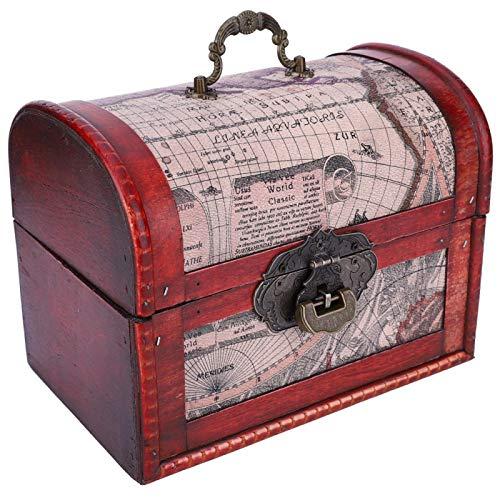 KUIDAMOS Caja de Madera, para baratijas, Duradera, Caja de Almacenamiento de Madera, clásico Retro, para decoración de Habitaciones para Bodas para Accesorios fotográficos para(Map Centennial Lock)