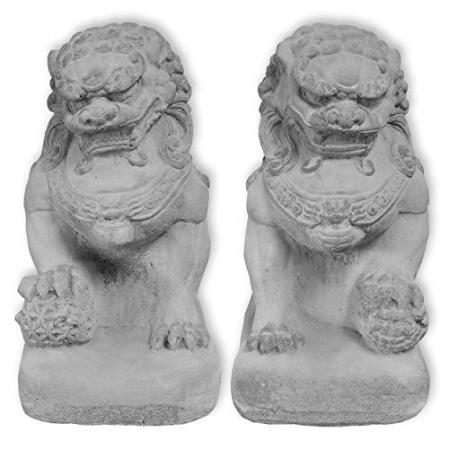 Wilai Fu-Hund Set männlich + weiblich grau STEINGUSS frostfest Wächterfigur Tempelwächter wachender Löwe FOO Dog 32 cm hoch