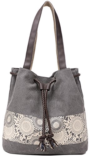 ArcEnCiel Canvas Tote Bag for Women Shoulder Purse Beach Handbags Work School Travel Shopping Pack (Gray)