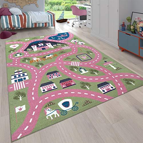 Paco Home Kinder-Teppich, Spiel-Teppich Für Kinderzimmer, Straßen-Motiv Mit Schloss, In Grün Rosa, Grösse:120x160 cm