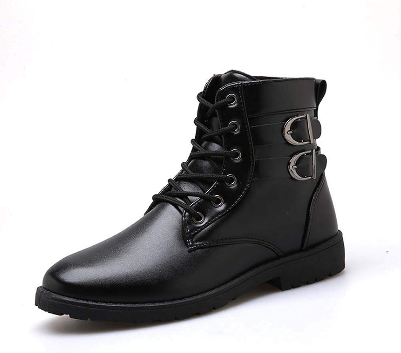 Mans Ankle stövlar, stövlar, stövlar, läder Lace -up Chunky Heel Buckles stövlar Military Style Mode utomhus Casual Waterljus skor höga stövlar  säljer bra över hela världen