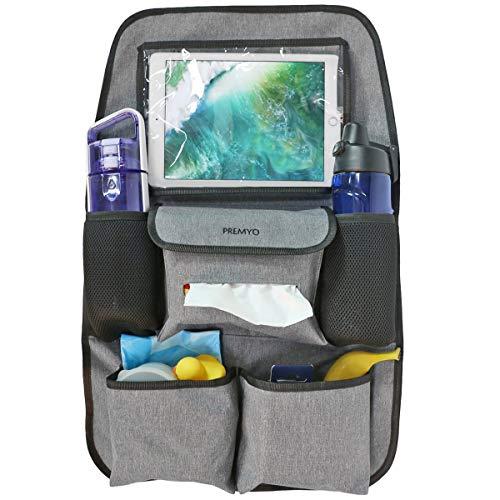 PREMYO Auto Organizer Rücksitz Kinder - Autositzschoner Rückenlehne mit Tablet Fach - Universal Rückenlehnenschutz