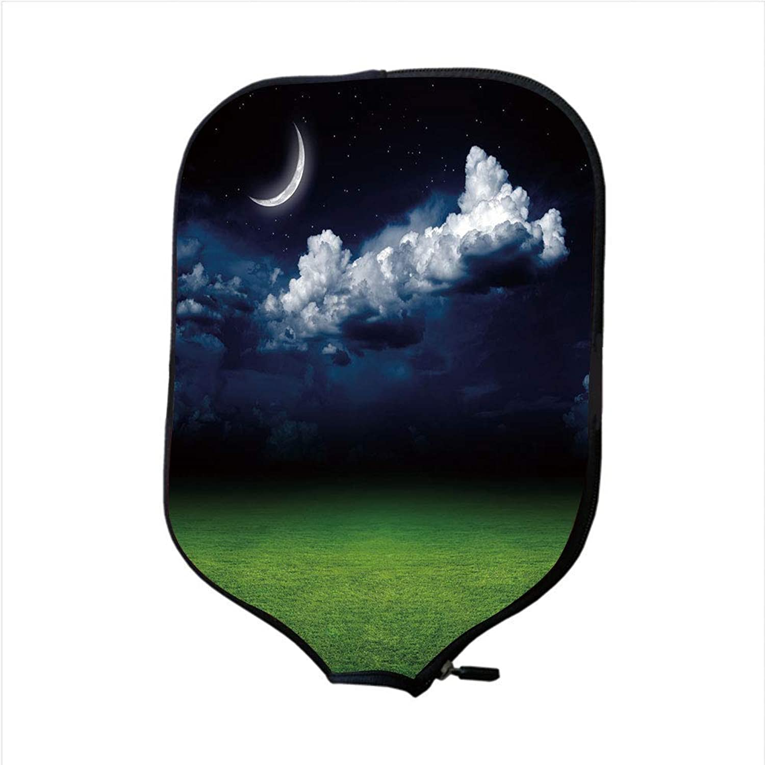 Fine Neoprene Pickleball Paddle Racket Cover Case,Night,Green Grass Landscape and Fluffy White Clouds Mystical Idyllic Lunar View Decorative,Green Indigo White,Fit for Most Rackets